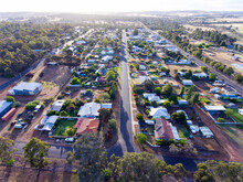 Aerial View Down Empty Street Of Small Town In The Wheatbelt