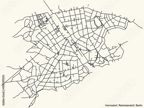 Fotografia Black simple detailed city street roads map plan on vintage beige background of