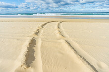 Tyre Tracks In The Sand On A Beach