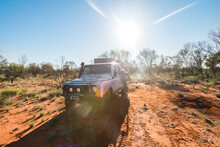 Loaded Up Four Wheel Drive Traveling Through Outback Australia