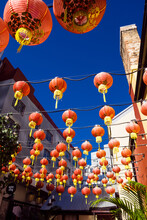 Traditional Chinese Lanterns Strung Up Above A Sydney Street