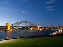 Sydney Harbour Bridge At Dusk From The Botanic Gardens