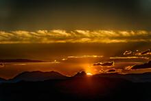 Sunset Behind Mountains At Tavernoles