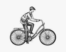 A Man On A Bicycle. Eco Friendly Transport. The Postman Rides A Bike. Vintage Custom Emblem, Label Badges For T Shirt. Monochrome Retro Style. Hand Drawn Engraved Sketch