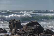 Mesmerizing Seascape With Waves Washing The Coast