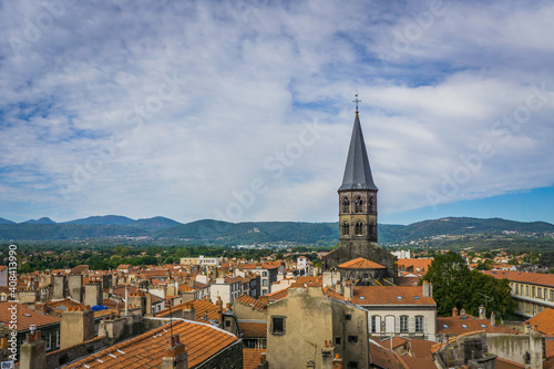 View from the top of the belfry on the Saint Amable basilica bell tower  and the Fototapete