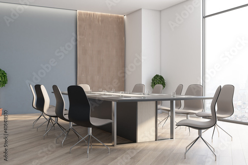 Modern conference interior with large meeting table