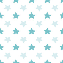 Seamless Abstract Blue Star Pattern Graphic. Creative Kids Style Texture For Fabric, Wrapping,  Textile, Wallpaper, Apparel. Surface Pattern Design.