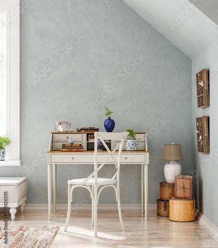 Fotografia, Obraz Home interior background, cozy room in farmhouse style, 3d render