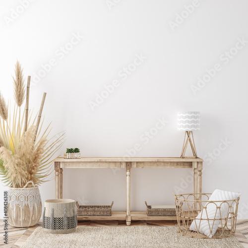 Obraz Home interior background, cozy room in farmhouse style, 3d render - fototapety do salonu