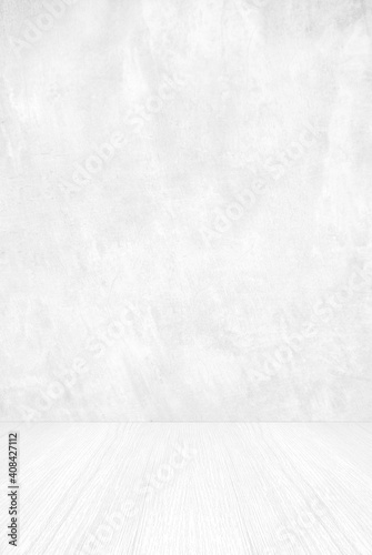 Empty white cement wall and wood floor background for product display montage, W Fototapeta