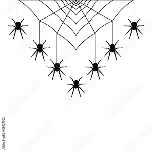 Fotografering Black spiders hanging on a web