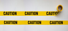 Caution Safety Barricade Tape, Indoor Or Outdoor Black On Yellow Background