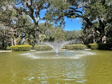 Fountain In The Park At Eden Gardens State Park Florida
