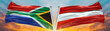 canvas print picture - Austria Flag and South Africa flag waving with texture sky Cloud and sunset Double flag