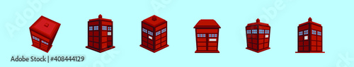 Fotografie, Obraz set of tardis police phone box cartoon icon design template with various models