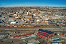 Aerial View Of Cheyenne, Wyoming And It's Large Train Yard