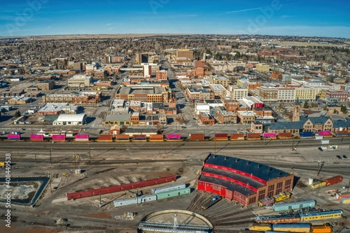 Foto Aerial View of Cheyenne, Wyoming and it's large Train Yard