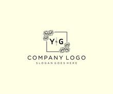 Initial YG Letters Botanical Feminine Logo Template Floral.