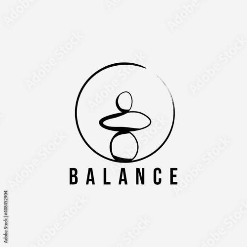 Leinwand Poster wellness balance stone logo vector illustration design