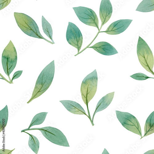 Green leaves seamless pattern, hand drawn watercolor leaves, botanical pattern f Fototapet