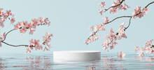 White Product Display Podium With Water Reflection And Blossom Flowers On Blue Background. 3D Rendering