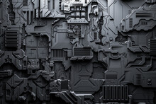 3d Illustration Of A Realistic Model Of A Robot Or Black Cyber Armor. Close-up Equipment For Mining Crypto-bitcoin; Ether. Video Cards; Motherboards