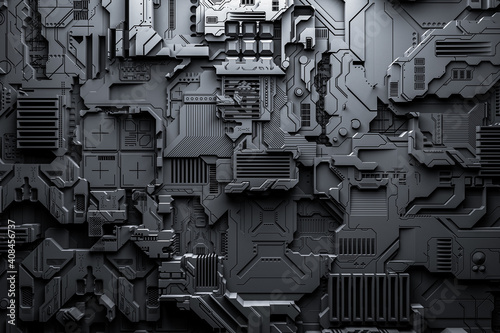 Tablou Canvas 3d illustration of a realistic model of a robot or black cyber armor