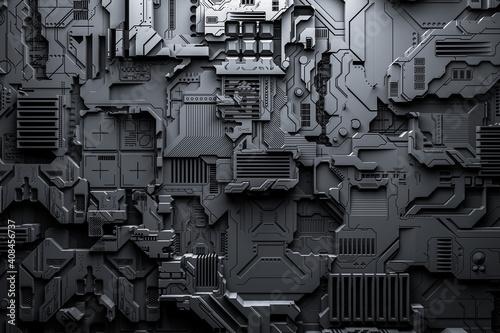Obraz na plátně 3d illustration of a realistic model of a robot or black cyber armor