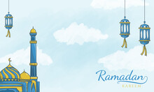 Islamic Latern And Mosque Ramadan Kareem Background
