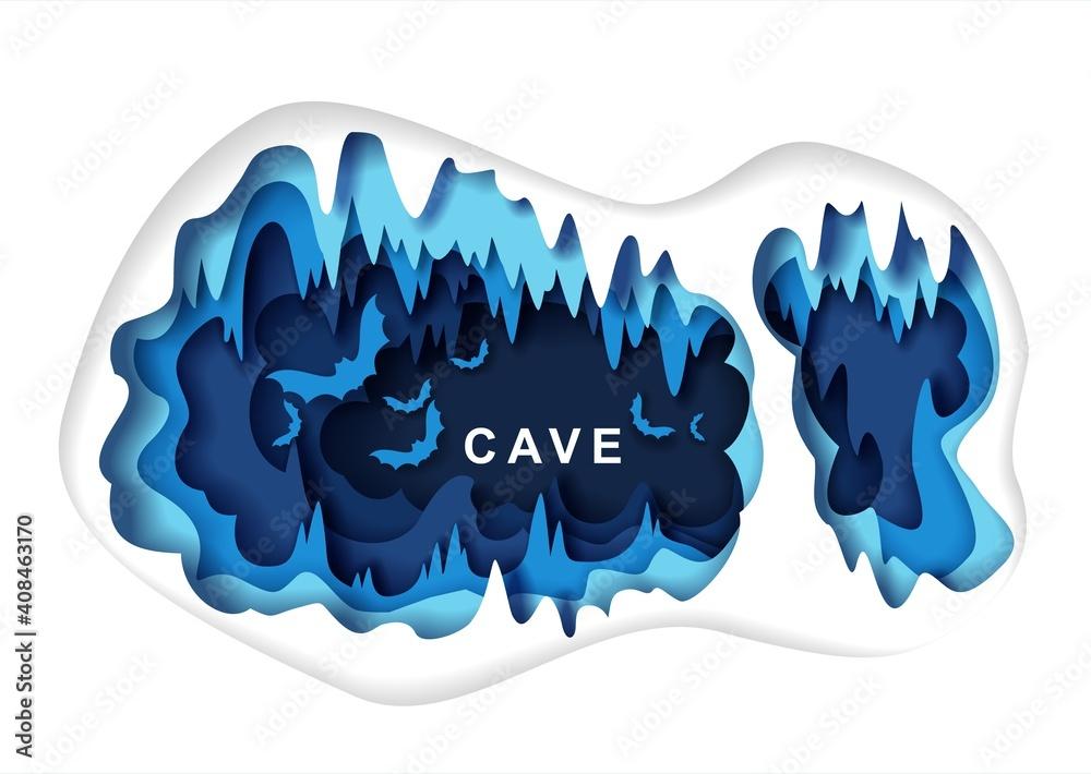 Fototapeta Paper cut craft style dark underground cave interior with bat silhouettes, vector illustration. Speleology or cave science, sport tourism, underground adventure. Geology.
