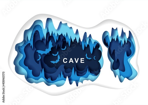 Paper cut craft style dark underground cave interior with bat silhouettes, vector illustration Fototapet