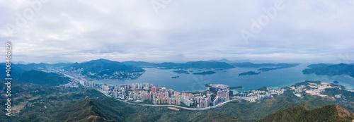 panorama z lotu ptaka Ma On Shan, nowe miasto w Hongkongu, obok parku wiejskiego