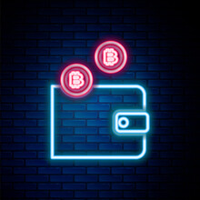 Glowing Neon Line Cryptocurrency Wallet Icon Isolated On Brick Wall Background. Wallet And Bitcoin Sign. Mining Concept. Money, Payment, Cash, Pay Icon. Colorful Outline Concept. Vector.