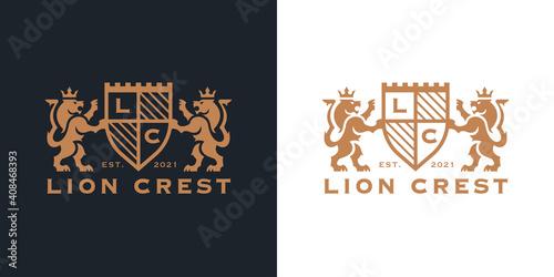 Fototapeta Luxury Lion crest heraldry logo. Elegant gold heraldic shield icon. Premium coat of arms brand identity emblem. Royal company label symbol. Modern vector illustration. obraz