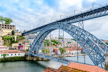 Maria Pia Bridge Over The River Duoro In Porto, Portugal, Built In 1877 And Attributed To Gustave Eiffel