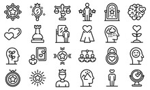Self-esteem Icons Set. Outline Set Of Self-esteem Vector Icons For Web Design Isolated On White Background