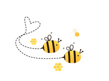 Cute Bee Couple With Heart Shaped Dotted Line Isolated On White Background Vector Illustration. Valentine's Day.