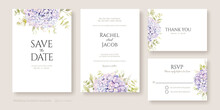 Wedding Invitation, Save The Date, Thank You, RSVP Card Design Template. Purple Hydrangea Flowers With Greenery.