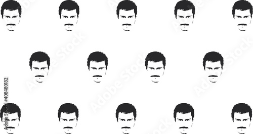Obraz Light background with dark male faces on it. Background in the style of modern men's fashion. Vector illustration  - fototapety do salonu