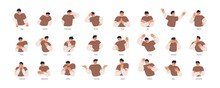 Set Of Different Emotions Of People. Man Expressing His Positive And Negative Feelings With Gestures And Facial Expressions. Angry, Worried, Happy And Surprised Guy. Colored Flat Vector Illustration