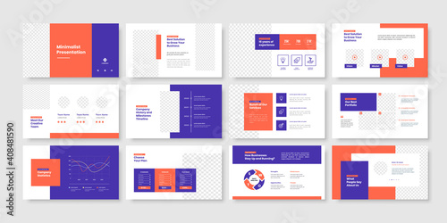 Fototapeta Business minimal slides presentation template obraz