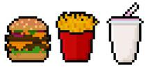 Set Of Pixel Fast Food Items - Hamburger, French Fries, And A Milkshake