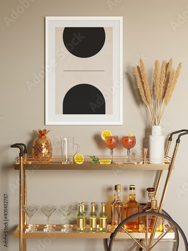 Canvas 3d render of a modern brass masculine mini bar trolley cart with glasses, drinks