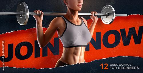 Obraz na plátne 3d female barbell fitness ad
