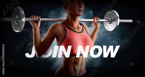 Obraz Powerful 3d barbell fitness banner - fototapety do salonu