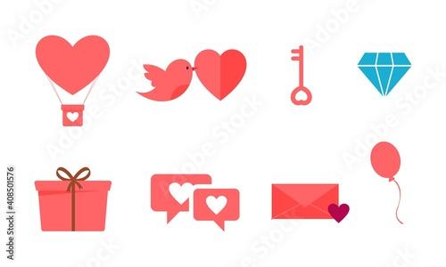 Vászonkép Valentine's day flat design modern icon set