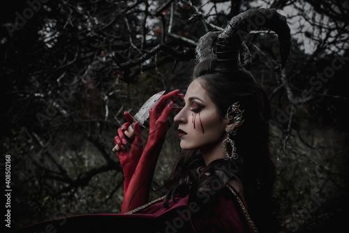 Fototapeta Dark fairy in the forest