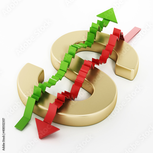 Rising and falling statistic arrows forming a dollar sign with letter S. 3D illustration © Destina
