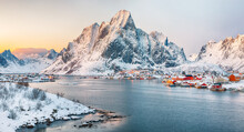 Fantastic Evening Panorama Of Reine Town.
